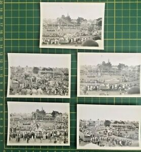 5 vintage photographs Carnival town party floats flowers crowds 1930's Cornwall?