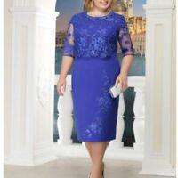 Woman Formal Dress Wear Half Sleeve Lace Design Empire Waist Knee Length Clothes