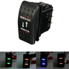 7 PIN 12V 20A CAR BOAT WINCH IN OUT LATCH ROCKER SWITCH DUAL LED ON-OFF-ON