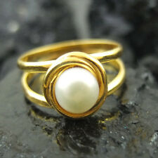 Handmade Hammered Band Fresh Water Pearl Ring 24K Gold over 925K Sterling Silver