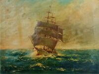 SAILBOAT IN THE SEA. OIL ON CANVAS. SIGNED. SPAIN. XIX CENTURY
