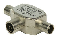 Freeview  2  Way TV  Coax  Aerial  Splitter  Metal 1X Socket 2x Plug UHF/VHF