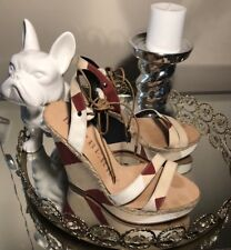Mint Condition BURBERRY LEATHER PLATFORM WEDGES 38.5