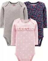 NWT BABY GIRL SET OF 3 LONG SLEEVE BODYSUITS SIZE 3-6 MONTHS