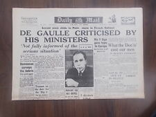 DAILY MAIL WWII NEWSPAPER JUNE 2nd 1945 DE GAULLE CRITICISED BY HIS MINISTERS