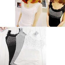 Women Rhinestone Lace Sleeveless Stunning Vest Tank Top T-shirt Blouse Yoga au