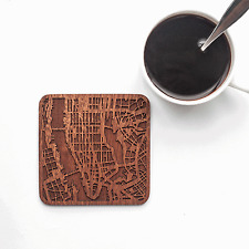 Manhattan, NY map coaster One piece  wooden coaster Multiple city IDEAL GIFTS