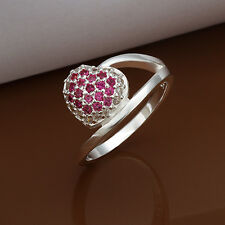 925 Sterling Silver Pink Zirconia Heart Band Ring Size 8 B42