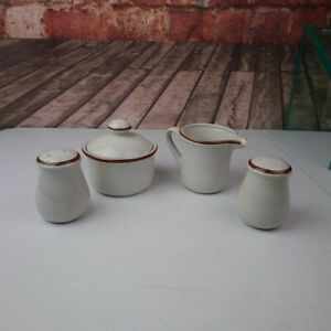 VTG Imperial Stoneware Japan Countryside Creamer Sugar Salt & Pepper Shaker Set