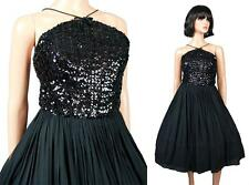 50s Prom Dress XS Vintage Sleeveless Short Black Sequin Silk Cocktail Party Gown
