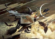 REPRINT PICTURE of print HALLOWEEN WITCH BAT CROW BROOM MOON 7x5 no border