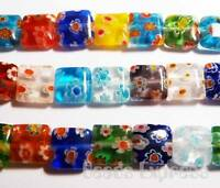 20pc Assorted Millefiori Square Glass Beads 10mm DS1001