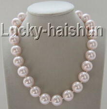"18"" 16mm round pink south sea shell pearls necklace zircon magnet clasp j9276"