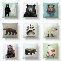 "18"" Forest Bear Linen Cotton Pillow Case Pillow Cover Cushion Cover Home Decor"