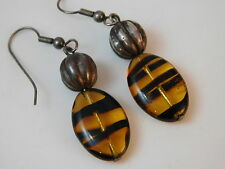 Vintage Drop Dangle Tortoise Art Glass Bead Silver Pierced Hook Earrings 4g 46