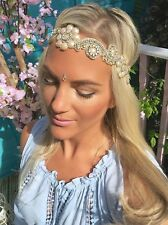 Gold Diamond Flower Ivory Pearl Hair Head Band Choochie Choo Hippy Bohemian