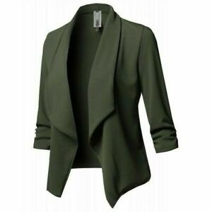 Womens Tops Slim Blazer Jacket Suit Casual Coat Outwear Long Sleeve Plus Size