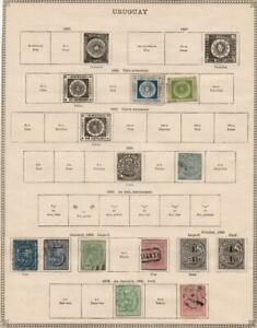 URUGUAY: 1859-1872 Examples - Ex-Old Time Collection - Album Page (37666)