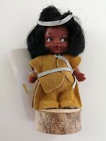 """Indien Art Eskimo 4"""" Doll/Figurine On Wooden Stand with Tags"""