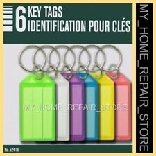 US SELLER ! 6 HEAVY DUTY — KEY ID NAME TAGS — METAL SPLIT RING & LABEL—KEYCHAIN