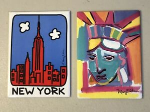 """Lot of 2 New York City and Statue of Liberty Fridge Metal Magnets 3.5x2.5"""""""