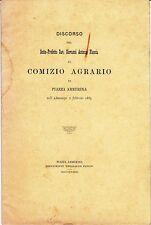 DISCORSO DEL SOTTO PREFETTO Giovanni Antonio PLescia -  PIAZZA ARMERINA - 1883