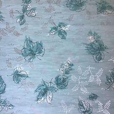 1950s Floral Vintage Wallpaper Midcentury Botanical and Flowers Aqua Silver