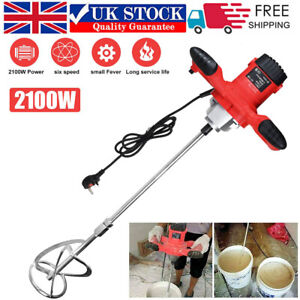 2100W Electric Plaster Paddle Mixer Drill Mortar Cement Paint Stirrer Whisk 220V