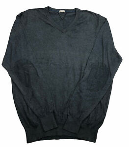 Bellerose Mens Blue Casual Long Sleeve V Neck Pullover Ribbed Hem Jumper SZ L