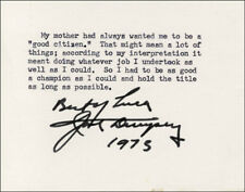 JACK DEMPSEY - TYPED QUOTATION SIGNED 1973