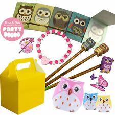 Pre Filled Girls Owl Party Bag Yellow Box Ready Made Gifts Bags Wedding Favours