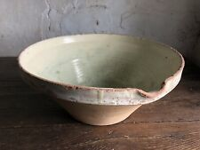 Large Antique French Glazed Terracotta Mixing Bowl / Proving Bowl / Tian.