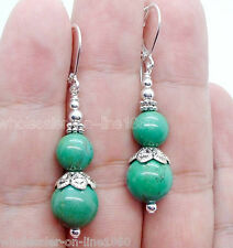 New Handmade Natural Blue Turquoise Sterling Silver Leverback Dangle Earrings
