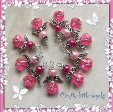 Handmade Pink Guardian Angel Charms Pack Of 20