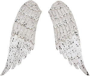 """Angel Wings Religious Hanging Wall Decor Distressed Grey 20"""" x 15"""" x 20"""" Wood"""