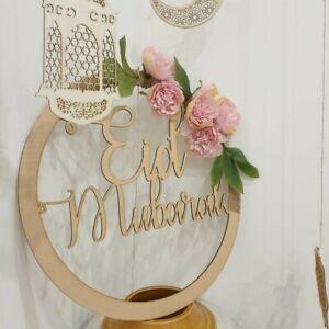 EID MUBARAK Wooden Name Hoop Wreath Hanging Circle Plaque Gift Decoration