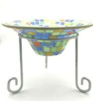 Vintage Handmade Bowl Stained Glass with Stand