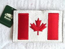 ROOTS CANADA Leather CARD HOLDER WALLET TAG flag pass business card 2 Pocket