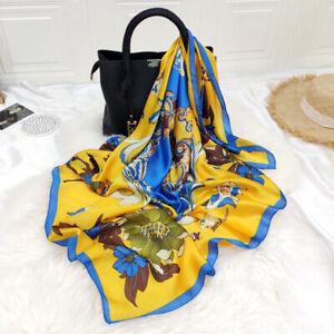 Women Fashion Square Scarf Shiny Bandana Animal Flower Print Kerchief 90*90cm