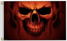 FLAMES GHOST SKULL FACE DELUXE 3X5 FLAG #370 BANNER new 5x3 GHOSTS wall hanging