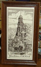 "Vintage Dutch Ceramic Tile ""Ijsselstein, N H Kerk"" in a wooden frame '79"