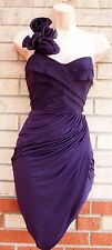 LIPSY PURPLE ONE SHOULDER LYCRA SKIRT DRAPE RUCHED GRECIAN PARTY DRESS 10 S