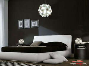 Lampadario classico camera da letto FIOCCO 35cm + 2 Lampade comodino vintage UFO