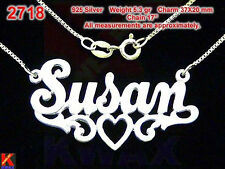 #2718 SUSAN Personalized 925  Silver Name Necklace Handcrafted Custom Pendant