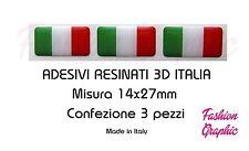 3 ADESIVI RESINATI BANDIERA ITALIANA ITALIA ITALY TRICOLORE STICKERS 14X27 3D