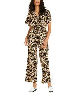 NY Collection Women's Petite Twist-Front Jumpsuit, Black/Gold, PS