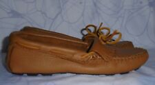 Women's Brown Leather MINNETONKA Loafers Size 7 M GREAT Condition