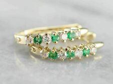 1.25 Ct Round Cut Emerald & Diamond Huggie Hoop Earrings 14k Yellow Gold Finish