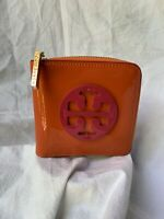 Genuine TORY BURCH square orange patent leather billfold wallet credit card