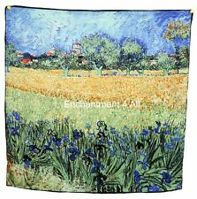 "Luxurious 100% SilkTwill Scarfw/ Van Gogh's Oil Painting ""View of Arles w/Irise"""